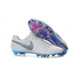 Nike Tiempo Legend VII FG Cuir Crampons de Football - Blanc Bleu