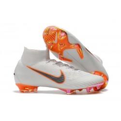 Nike Mercurial Superfly VI FG Crampons de Football - Blanc Orange