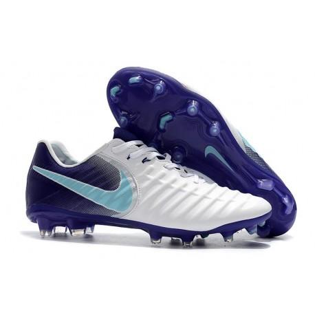 Nike Tiempo Legend VII FG Cuir Crampons de Football - Blanc Violet