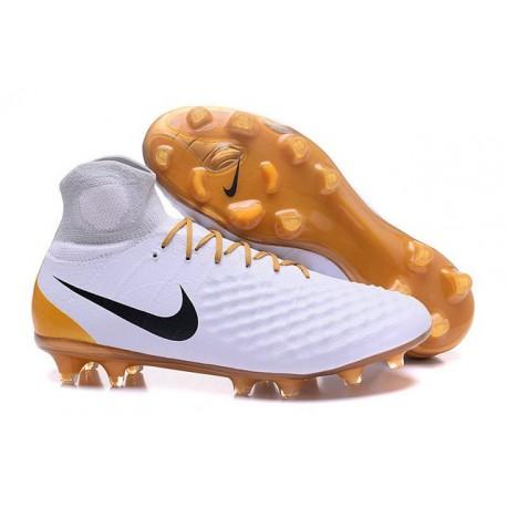Nike Crampons de Foot Magista Obra 2 FG ACC Blanc Or Noir
