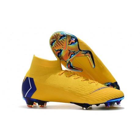 Nike Mercurial Superfly VI Elite FG Crampons de Foot - Jaune Bleu