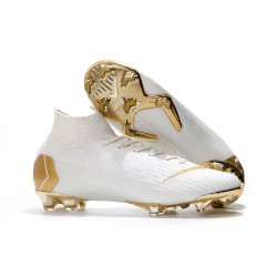 Nike Mercurial Superfly VI Elite FG Crampons de Foot - Blanc Or