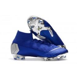 Nike Mercurial Superfly VI Elite FG Crampons de Foot - Bleu Argent