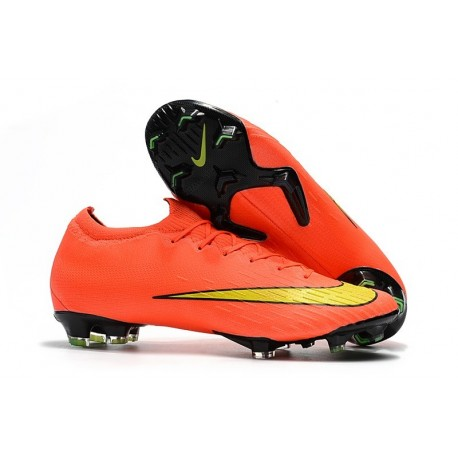 Nike Mercurial Vapor 12 Elite FG Crampons de Football Orange Jaune