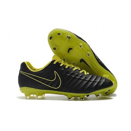 Nike Tiempo Legend VII FG Cuir Crampons de Football - Noir Volt