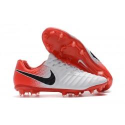 Nike Tiempo Legend VII FG Cuir Crampons de Football - Blanc Rouge