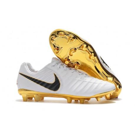 Nike Tiempo Legend VII FG Cuir Crampons de Football - Blanc Or