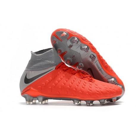 Nike Crampons de Foot HyperVenom Phantom 3 DF FG - Rouge Gris