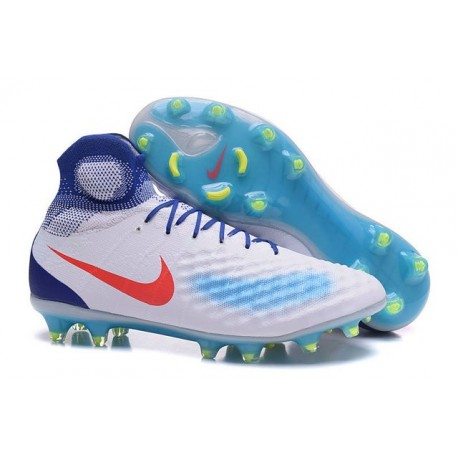 Nike Crampons de Foot Magista Obra 2 FG ACC Blanc Bleu Rouge