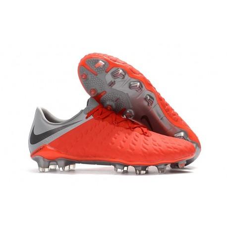 Nike Hypervenom Phantom III FG Crampons Foot - Rouge Gris