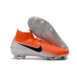 Nike Chaussures Mercurial Superfly 6 Elite FG - Orange Blanc Noir