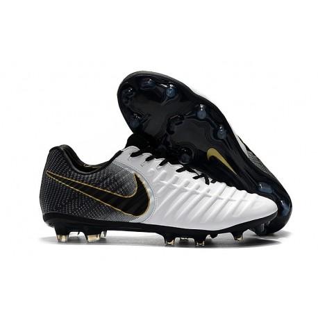Nike Chaussure Foot Tiempo Legend 7 Elite FG - Noir Blanc Or