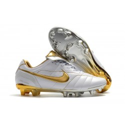Nike Chaussure Foot Tiempo Legend 7 R10 Elite FG - Blanc Or