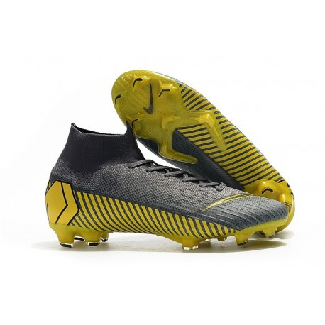 Crampons de Football Nike Mercurial Superfly VI Elite FG - Gris Noir Or