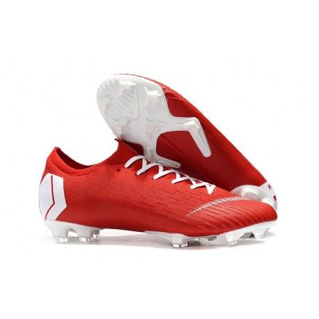 Crampons Nouvel Nike Mercurial Vapor 12 Elite FG - Rouge Blanc