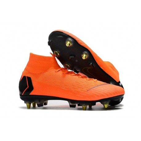 Nike Mercurial Superfly VI Elite SG-Pro AC Chaussures Orange Noir