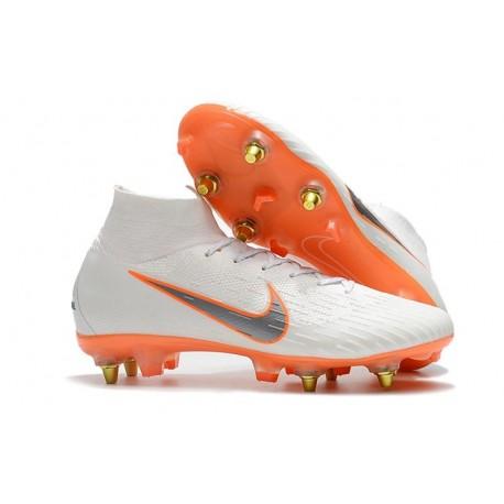 Nike Mercurial Superfly VI Elite SG-Pro AC Chaussures Blanc Orange