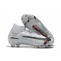 Crampons de Football Nike Mercurial Superfly VI Elite FG - Blanc Argente Noir