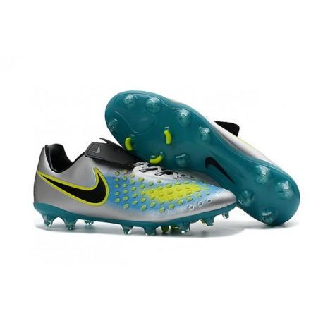 Nike Magista Opus FG ACC Chaussures de Football Argent Bleu