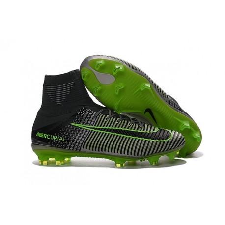 Chaussures de Foot Nike Mercurial Superfly V FG ACC Homme Gris Vert Noir