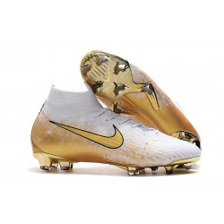 Nike Mercurial Superfly 6 Elite Elite FG Chaussure Or Blanc