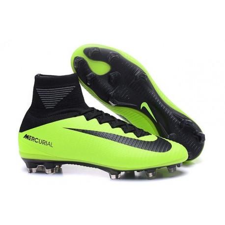 Chaussures de Foot Nike Mercurial Superfly V FG ACC Homme Vert Noir