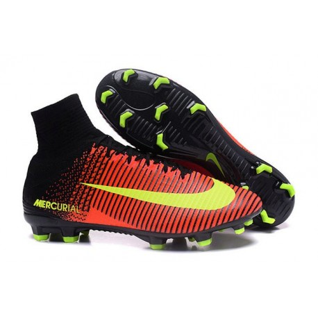 Chaussures de Foot Nike Mercurial Superfly V FG ACC Homme Orange Pink Jaune