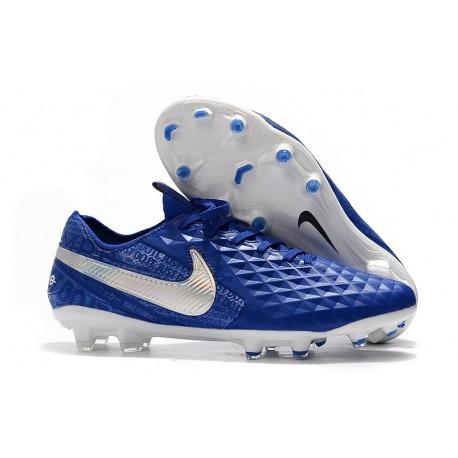 Chaussure Nouvelles Nike Tiempo Legend 8 Elite FG Bleu Blanc