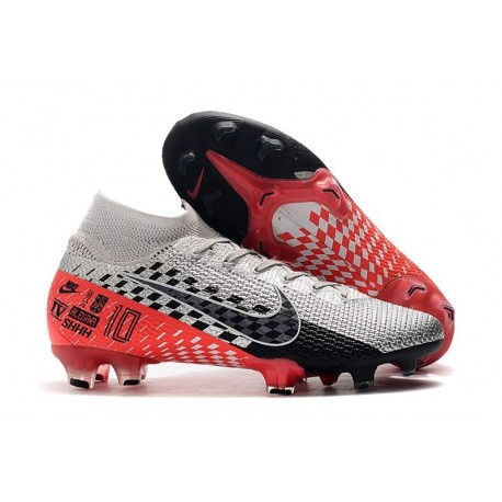 Neymar Nike Mercurial Superfly 7 Elite FG Chromé Noir Rouge Platine