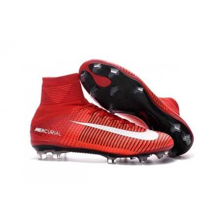 Chaussures de Foot Nike Mercurial Superfly V FG ACC Homme Rouge Blanc