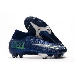 Crampons Nike Dream Speed Mercurial Superfly 7 Elite FG Bleu Blanc