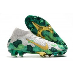 Mbappe Nike Chaussure Mercurial Superfly VII Elite FG Gris Vert Or