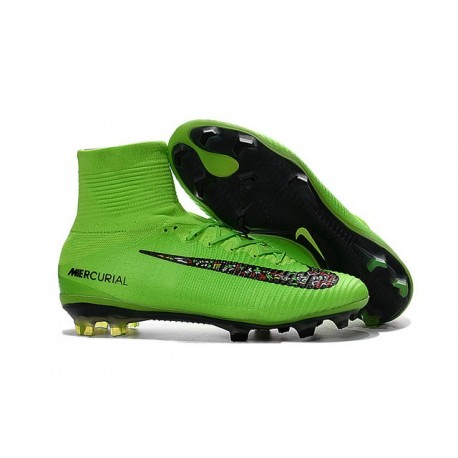 Nike Mercurial Superfly 5 FG Nouvelle Crampons de Football Vert Noir