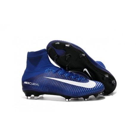 Nike Mercurial Superfly 5 FG Nouvelle Crampons de Football Bleu Blanc