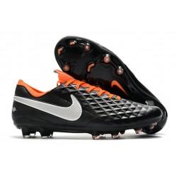 Chaussure Nouvelles Nike Tiempo Legend 8 Elite FG Noir Blanc Orange