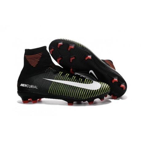 Nike Mercurial Superfly V FG - Homme Crampon de Foot - Noir Vert Blanc
