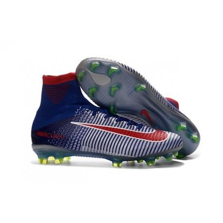 Chaussure de Football à Crampons - Nike Mercurial Superfly 5 FG - Bleu Blanc Rouge
