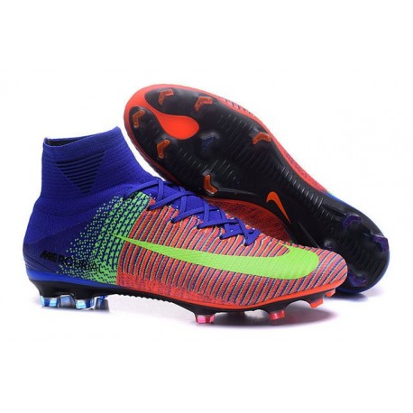 Nike Mercurial Superfly V FG - Homme Crampon de Foot - Orange Bleu Vert