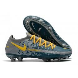 Chaussures 2021 Nike Phantom GT Elite FG Gris Bleu Jaune