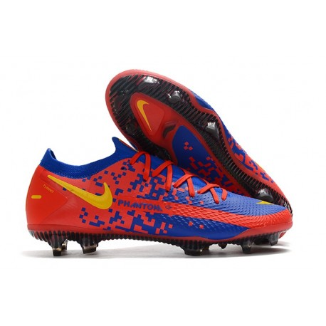 Chaussures 2021 Nike Phantom GT Elite FG Bleu Rouge Jaune