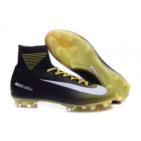 more photos fa60a b37f4 Chaussure de Football à Crampons - Nike Mercurial Superfly 5 FG - Noir  Jaune Blanc