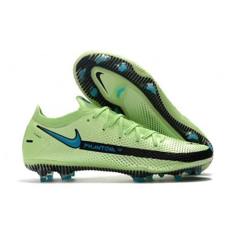 Chaussures 2021 Nike Phantom GT Elite FG Impulse - Vert Bleu