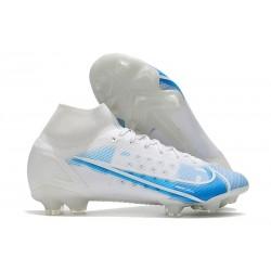 Nike Chaussure Mercurial Superfly 8 Elite FG Blanc Bleu