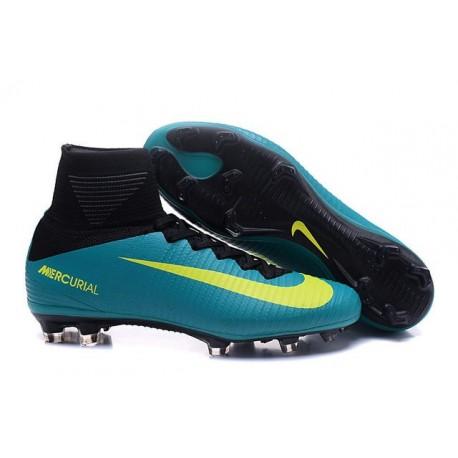 Nike Mercurial Superfly V FG - Homme Crampon de Foot - Bleu Jaune