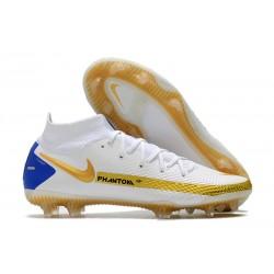 Nike Phantom Generative Texture Elite DF FG Blanc Or Bleu