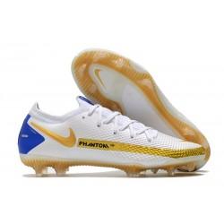 Nike Phantom GT Elite FG Crampons Blanc Or Bleu