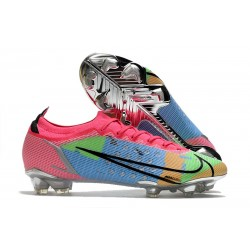 Chaussures Nike Mercurial Vapor 14 Elite FG Bleu Rose Vert