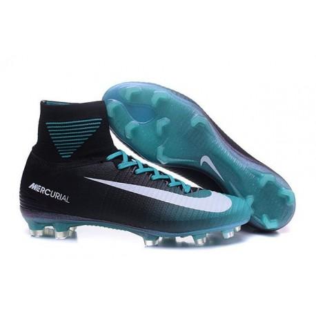 Chaussure de Football à Crampons - Nike Mercurial Superfly 5 FG - Noir Bleu Blanc