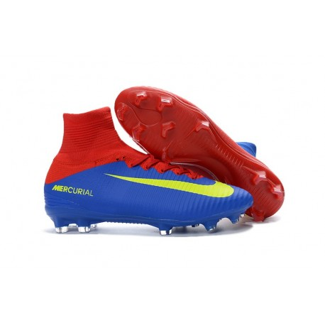 Nike Mercurial Superfly V FG - Homme Crampon de Foot - Bleu Rouge Jaune