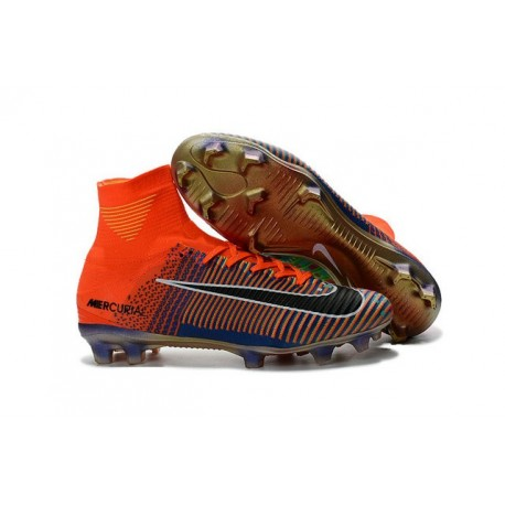 Nike Mercurial Superfly V FG - EA Sports Crampon de Foot - Orange Vert Noir